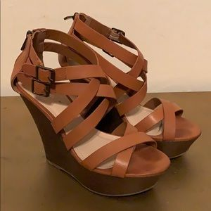 Tan Wedge Platform Sandal